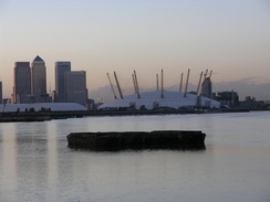 P2006B186391	A distant view of the Millennium dome and Canry Wharf.